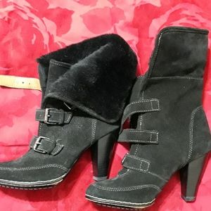 Genuine Suede and faux fur booties